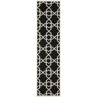 """Safavieh Handwoven Moroccan Reversible Dhurrie Black Wool Runner Rug (2'6"""" x 6')"""