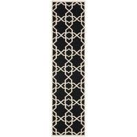 Safavieh Hand-woven Moroccan Reversible Dhurrie Black Wool Rug - 2'6 x 8'
