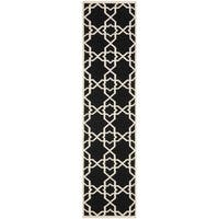 "Safavieh Hand-woven Moroccan Reversible Dhurrie Black Wool Rug - 2'6"" x 8'"