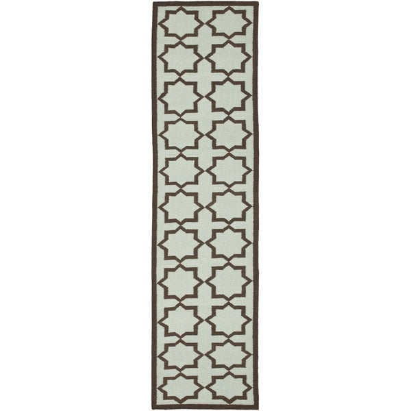 Safavieh Hand-woven Moroccan Reversible Dhurrie Light Blue Wool Rug (2'6 x 6')
