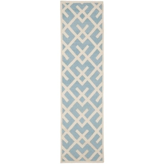 "Safavieh Handwoven Moroccan Reversible Dhurrie Casual Light Blue Wool Rug (2'6"" x 6')"