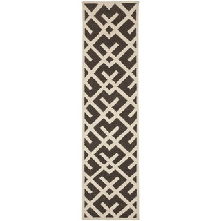 "Safavieh Handwoven Moroccan Reversible Dhurrie Brown Wool Runner Rug (2'6"" x 8')"