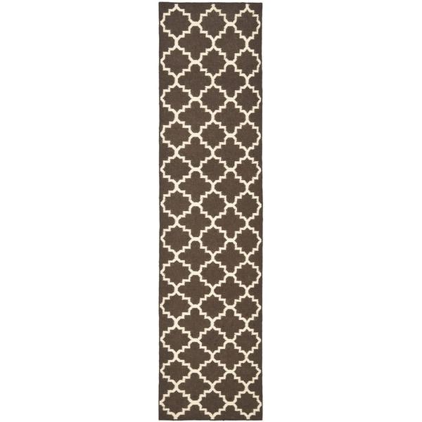Safavieh Hand-woven Moroccan Reversible Dhurrie Brown Wool Rug - 2'6 x 6'