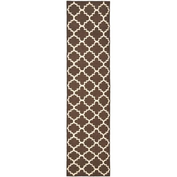 "Safavieh Hand-woven Moroccan Reversible Dhurrie Brown Wool Rug - 2'6"" x 6'"