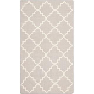Safavieh Hand-Woven Moroccan Reversible Dhurrie Geometric Grey Wool Rug (2'6 x 6')