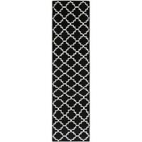 "Safavieh Transitional Handwoven Moroccan Reversible Dhurrie Black Wool Runner Rug - 2'6"" x 6'"