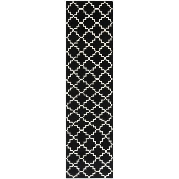 Safavieh Hand Woven Moroccan Reversible Dhurrie Black Geometric Diagonals Wool Rug 2 X27