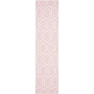 Safavieh Hand-woven Moroccan Reversible Dhurrie Pink Wool Rug (2'6 x 6')
