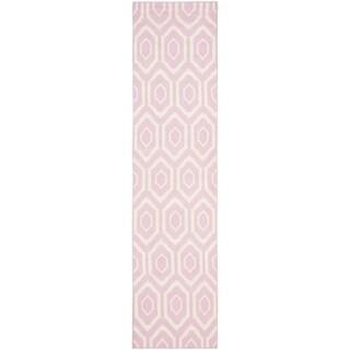 Safavieh Hand-woven Moroccan Reversible Dhurrie Pink Wool Rug (2'6 x 8')