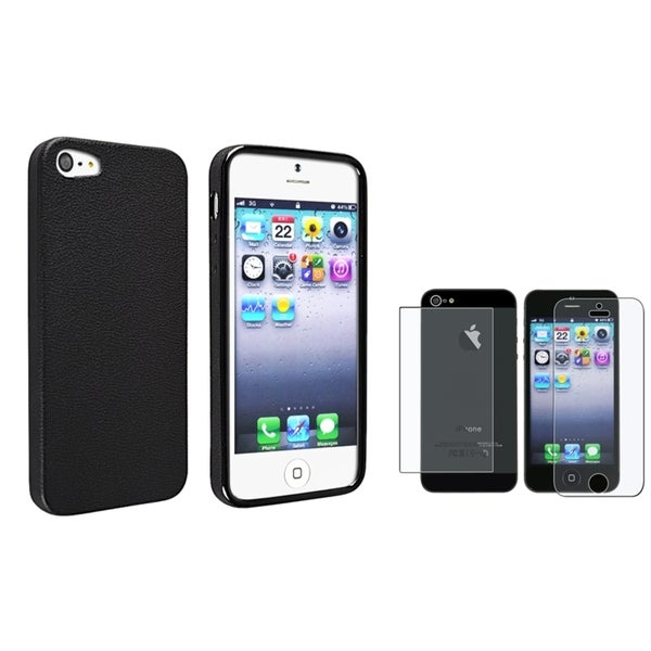 INSTEN Black Skin Veins TPU Phone Case Cover/ Screen Protector for Apple iPhone 5