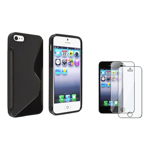 INSTEN Black S Shape TPU Phone Case Cover/ Screen Protector for Apple iPhone 5/ 5S