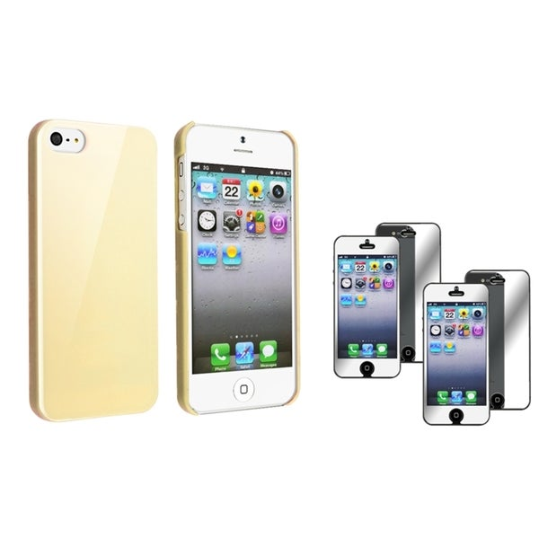 INSTEN Yellow Ice Cream Phone Case Cover/ Screen Protector for Apple iPhone 5