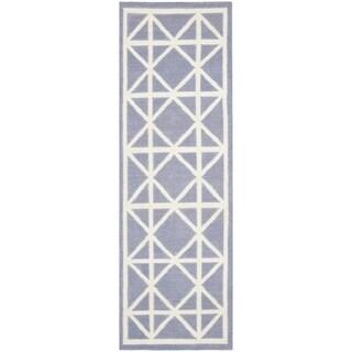 Safavieh Hand-woven Moroccan Reversible Dhurrie Purple Wool Rug (2'6 x 12')