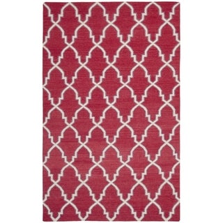 Safavieh Hand-woven Moroccan Reversible Dhurrie Red Wool Rug (8' x 10')
