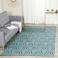 Safavieh Transitional Handwoven Moroccan Reversible Dhurrie Light-Blue Wool Rug - 8' x 10'