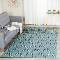 Safavieh Hand-woven Moroccan Reversible Dhurrie Light Blue Wool Rug - 9' x 12'