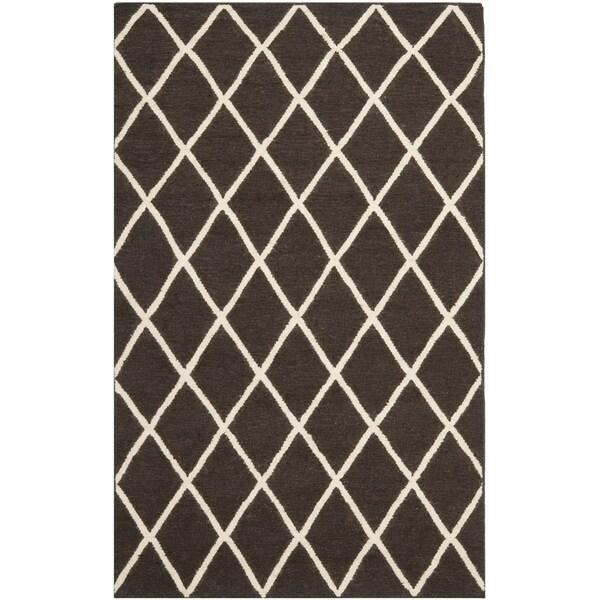safavieh handwoven moroccan reversible dhurrie brown wool area rug 3