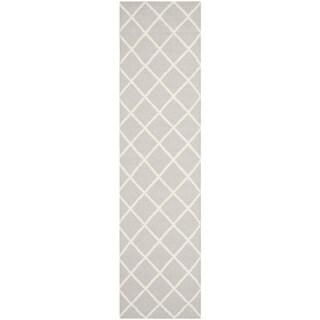 Safavieh Hand-woven Moroccan Reversible Dhurrie Grey Wool Rug (2'6 x 10')