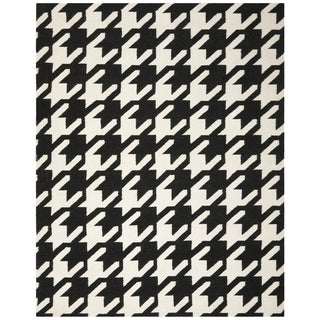 Safavieh Hand-woven Moroccan Reversible Dhurrie Hounds Tooth Reversible Dhurrie Black Wool Rug (4' x