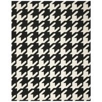 Safavieh Hand-woven Moroccan Reversible Dhurrie Hounds Tooth Reversible Dhurrie Black Wool Rug - 4' X 6'