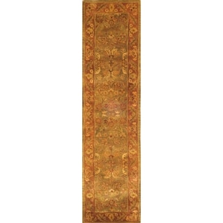 Safavieh Handmade Golden Jaipur Green/ Rust Wool Rug (2'3 x 22')