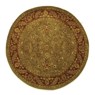 Safavieh Handmade Golden Jaipur Green/ Rust Wool Rug (5' Round)