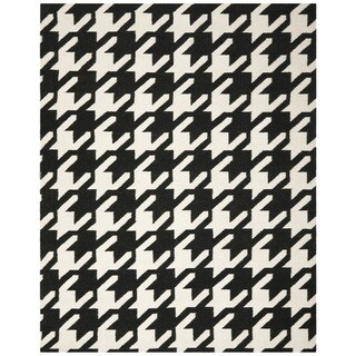 Safavieh Hand-woven Moroccan Reversible Dhurrie Hounds Tooth Reversible Dhurrie Black Wool Rug (6' x