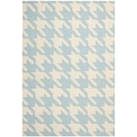 Safavieh Handwoven Moroccan Reversible Dhurrie Hounds Tooth Reversible Dhurrie Light Blue Wool Rug - 5' x 8'