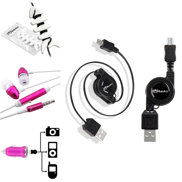 INSTEN Car Charger Adapter/ Retractable Micro USB Cable/ Headset/ Wrap