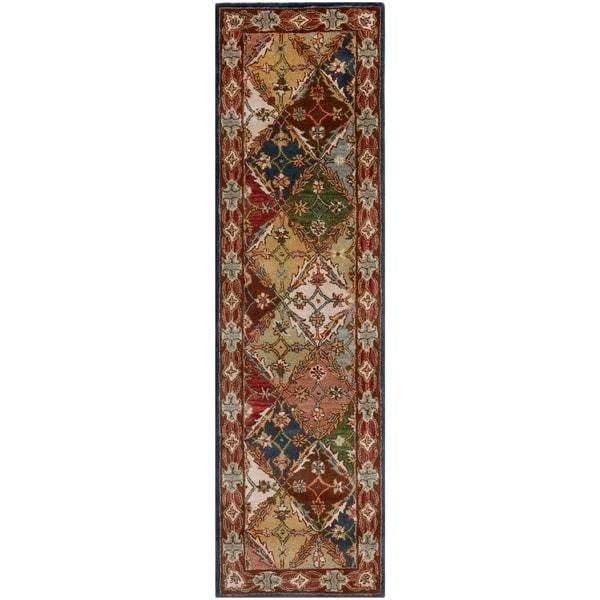 Safavieh Handmade Heritage Traditional Bakhtiari Green/ Red Wool Rug - 2'3 x 10'