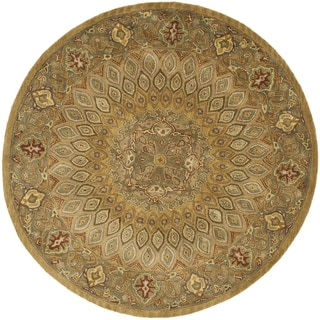 Safavieh Handmade Heritage Timeless Traditional Light Brown/ Grey Wool Rug (10' Round)