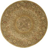 Safavieh Handmade Heritage Timeless Traditional Light Brown/ Grey Wool Rug - 10' x 10' Round