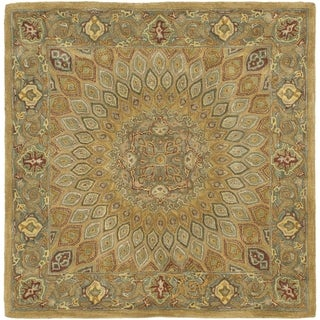 Safavieh Handmade Heritage Timeless Traditional Light Brown/ Grey Wool Rug - 10' square