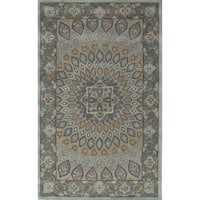 Safavieh Handmade Heritage Timeless Traditional Blue/ Grey Wool Rug - 5' x 8'