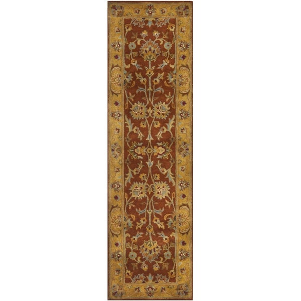 Safavieh Handmade Heritage Timeless Traditional Rust/ Beige Wool Rug - 2'3 x 10'
