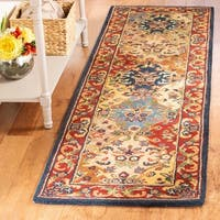 "Safavieh Handmade Heritage Timeless Traditional Multicolor/ Burgundy Wool Rug - 2'3"" x 18'"