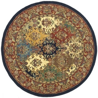 Safavieh Handmade Heritage Timeless Traditional Multicolor/ Burgundy Wool Rug (10' Round)