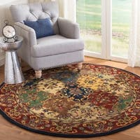 Safavieh Handmade Heritage Timeless Traditional Multicolor/ Burgundy Wool Rug - 10' x 10' round