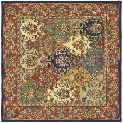 Safavieh Handmade Heritage Lyra Traditional Multi/ Burgundy Wool Rug - 10' x 10' Square