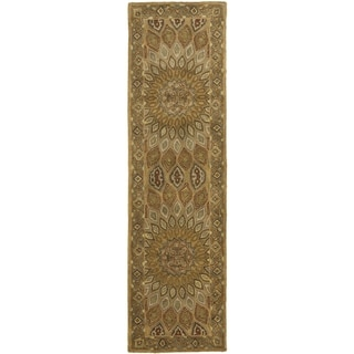 Safavieh Handmade Heritage Timeless Traditional Light Brown/ Grey Wool Rug (2'3 x 6')