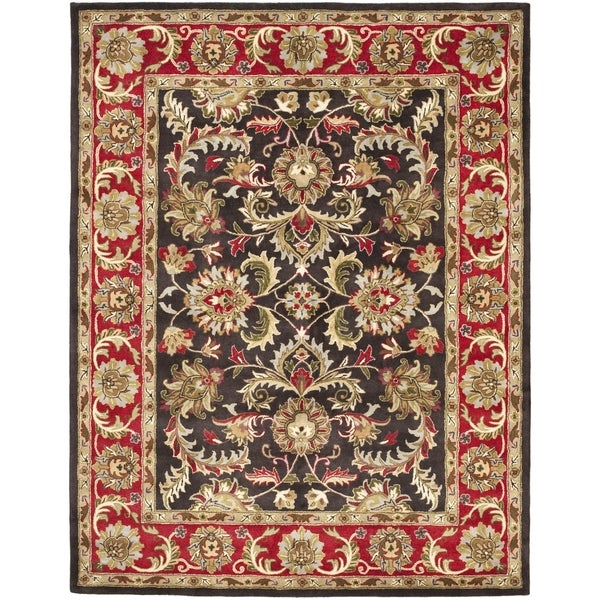 Safavieh Handmade Heritage Timeless Traditional Chocolate Brown/ Red Wool Rug - 8'3 x 11'