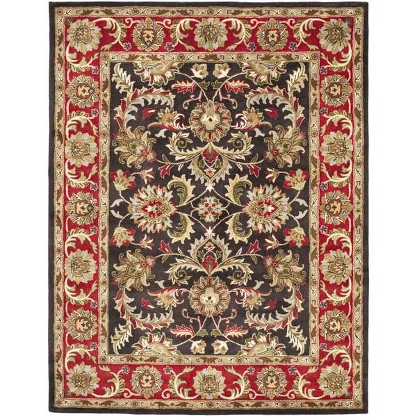 "Safavieh Handmade Heritage Timeless Traditional Chocolate Brown/ Red Wool Rug - 8'3"" x 11'"
