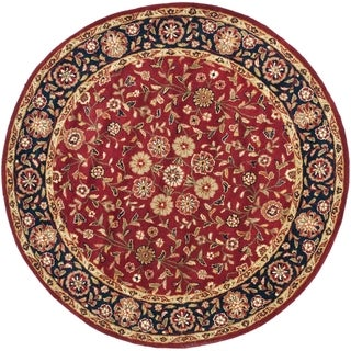 Safavieh Handmade Heritage Timeless Traditional Red/ Navy Wool Rug (8' Round)