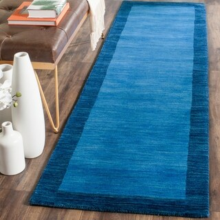 Safavieh Handmade Himalaya Light Blue/ Dark Blue Wool Gabbeh Rug - 2'3 x 6'