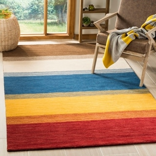 Safavieh Handmade Himalaya Orange/ Multicolored Stripe Wool Gabbeh Runner Rug (2'3 x 12')