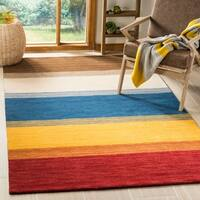 Safavieh Handmade Himalaya Orange/ Multicolored Stripe Wool Gabbeh Runner Rug - 2'3 x 12'