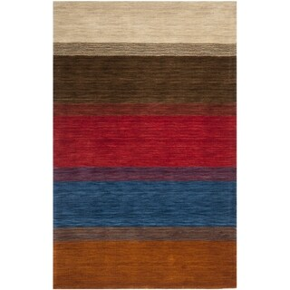Safavieh Handmade Himalaya Orange/ Multicolored Stripe Wool Gabbeh Area Rug (8'9 x 12')