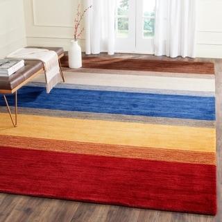 Safavieh Handmade Himalaya Orange/ Multicolored Stripe Wool Gabbeh Area Rug (8'9 x 12')