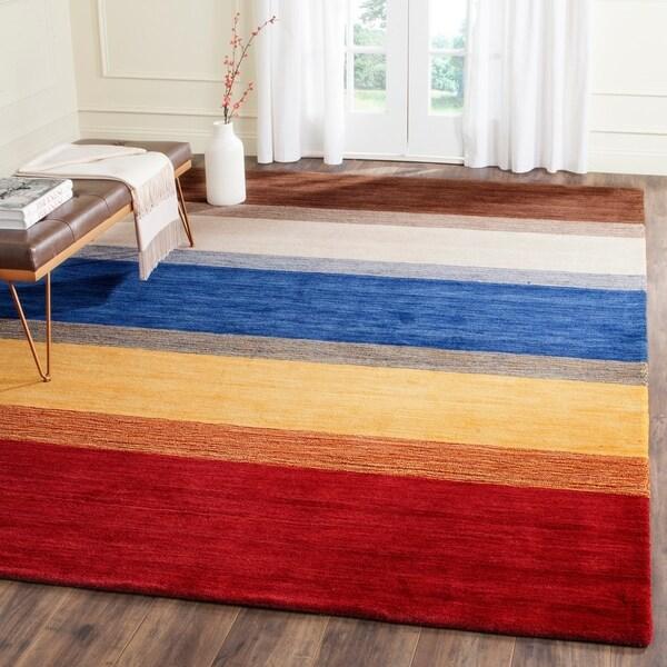 Safavieh Handmade Himalaya Orange/ Multicolored Stripe Wool Gabbeh Area Rug - 8'9 x 12'