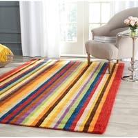 "Safavieh Handmade Himalaya Red/ Multicolored Stripe Wool Gabbeh Runner Rug - 2'3"" x 10'"